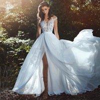 gelin elbisesi dantel illüzyonu geri toptan satış-Yeni Muhteşem Sahil Gelinlik Sheer Boyun Cap Kollu Aplikler Dantel Şifon Yan Bölünmüş Illusion Geri Boho Gelinlikler Gelin Elbiseler