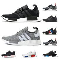 pembe siyah spor sütyen toptan satış-Adidas NMD R1 koşu ayakkabıları Primeknit klasik OG Üçlü siyah Beyaz kırmızı Koşu ayakkabıları Erkekler Kadınlar bej Koşucu Spor sneaker Ayakkabı EUR 36-45