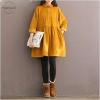 camisa de veludo amarelo venda por atacado-Alta Qualidade do Vestidos Vintage Corduroy Vestido Mulheres manga comprida Collar Mori Menina amarela Pan Red Outono Inverno Vestidos