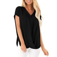 düğme bluzları kısa kollu toptan satış-Kadınlar Dantel Bluzlar Gömlek Kadınlar tops Seksi Bluzlar Kısa Batwing Kollu V Yaka Rahat Şifon Düğme Katı 2XL Boyutu Gömlek L * 5