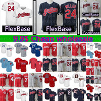 Wholesale baseball benches for sale - 24 Andrew Mille Jersey Mens Cleveland Indians Baseball Jerseys Cheap FlexBase CoolBase Johnny Bench Adrian Gonzalez M XXXL
