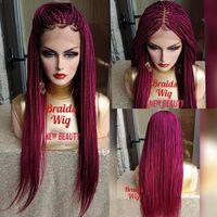ingrosso capelli sintetici africa-Hotselling africa donne stile Jumbo trecce parrucca anteriore del merletto parrucca sintetica parrucca treccia rosa rosso crochet treccia parrucca linea sottile naturale