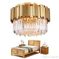 led kapalı tavan fikstürü toptan satış-Tavan Lüks Modern Yatak odası için Yuvarlak Altın Kristal Avize Lustres De Cristal Ev İç Işıklandırma LED