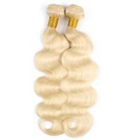 ingrosso capelli biondi che tessono l'onda del corpo-# 613 Fasci del tessuto dei capelli umani biondi Onda del corpo Brasiliano Peruviano Indiano Malese Remy Estensioni dei capelli umani 1 o 2 pacchi da 10-28 pollici