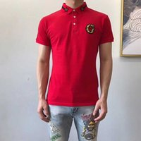 t-shirt stickerei designs applikation großhandel-G Brief Applique Herren Polo Shirts Snake Bee Stickerei Herren Polo Shirt Fashion Design Rot weiß und schwarz Polo T Shirts