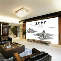 Wholesale home wallpaper words for sale - Group buy Chinese Classic Landscape Painting Wall Stickers Mountains Cloud Oriental Words Wall Decal Home Decor Wallpaper Poster Wall Applique Sticker