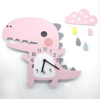 décorations de dinosaures pour enfants achat en gros de-Dessin Animé 3D Animal Horloge Murale Motif De Dinosaure Décoration De Décoration pour La Maison Chambre Vintage Home Wall Decor Horloge Murale pour la Chambre Des Enfants