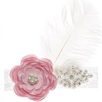 ingrosso ragazza di fiore bianco bordeaux-Copricapo di piume bianche con strass fiore Fascia per capelli Copricapo Copricapo Party per Ragazze Bambini