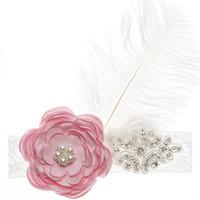 weißes burgund blumenmädchen großhandel-Strass weiße Federn Blume Stirnband Haar Seil Kopfschmuck Kopfbedeckung Party für Mädchen Kinder