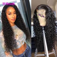 doğal peruklar siyah kadınlar indian toptan satış-Kinky Kıvırcık Dantel Ön İnsan Saç Peruk Siyah Kadınlar Için Derin Dalga ham bakire hint saç Vücut Dalga 4 * 4 dantel kapatma doğal peruk