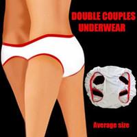 ingrosso pantaloni del giocattolo del sesso-Coppie che indossano mutandine Biancheria intima Doppia usura Biancheria intima Giocattoli per coppie Flirtare Sexy T Pants Lingerie