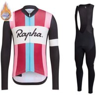 Wholesale short sleeve winter cycling jersey resale online - Rapha Men Winter thermal Fleece Cycling Jersey Long Sleeve Road Bike Bicycle Clothing Ropa Ciclismo Bib Shorts Pants Set