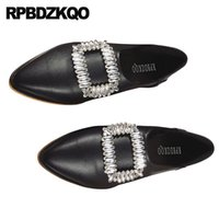 diamante negro de china al por mayor-Diamond Flats Zapatos baratos China Mujeres Cristalino del dedo del pie puntiagudo Rhinestone Slip On Fashion Beautiful amarillo cómodo negro Suede 2018