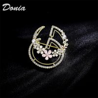 Wholesale rhinestone green brooches resale online - Donia jewelry European and American popular letter Brooch copper micro inlaid zircon Brooch gift Brooch Christmas coat scarf accessories