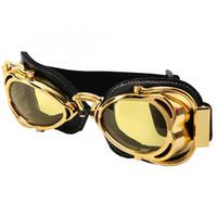 kask motosiklet sarı toptan satış-Sunglass bisiklet ekipmanları 1 Adet Retro Açık Motosiklet Gözlüğü Rüzgar Geçirmez Kask Bisiklet Gözlük Altın Çerçeve (Sarı Lens)
