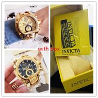 ouro de reserva venda por atacado-Invicta Modelo: 20112 Reserve Bolt Zeus Gold Band Metal 18k Gold Dial Quartz Mens Watch com caixa amarela