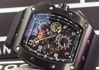 часы felipe massa оптовых-Черный PVD Нержавеющая Механические Автоматические Часы Felipe Massa Flyback Резина Дата Мужские Бизнес Наручные Часы Мужчины