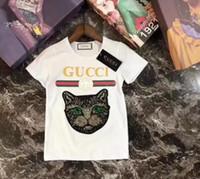 ropa para gatos al por mayor-Moda de verano para niños, niñas, ropa, niños, diseñador, manga corta, camiseta, estampado de niños, camisa de gato, camisetas de niño, 3-7 años.