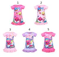 bebek kızları için yeni stil elbiseler toptan satış-5 Stil Kız bebek köpekbalığı gece elbise Yeni Çocuk güzel Karikatür köpekbalığı prenses Parti Elbiseler çocuklar ev gecelik ...