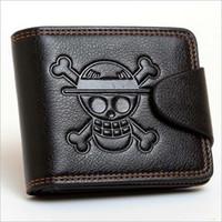 anime skull hat 도매-남자 남자 원피스 Luffy Wallet 원숭이 D Luffy 밀짚 모자 해적 Anime Skull Wallet 지갑 블랙 푸 가죽