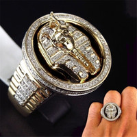 Wholesale ring mens gold for sale - Group buy Hip Hop Gold Color Full Crystal Egyptian King Ring Egypt Pharaoh King Motor Biker Mens Party Jewelry