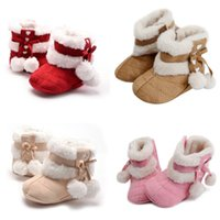 Wholesale crochets shoes for sale - baby girls fleece boots toddler wool crib shoes winter thicken warm first walkers kids crochet knitted shoes
