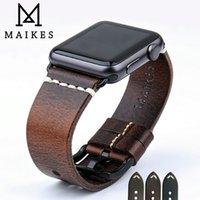bracelets de montres en cuir vintage achat en gros de-Bracelet de montre en cuir Maikes pour bracelet de montre Apple 44 mm 40 mm 42 mm 38 mm série 4 3 2 Iwatch Bracelet de montre vintage en cuir ciré à l'huile T190620