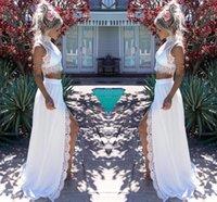 bainha de verão chiffon duas peças venda por atacado-2019 Modern Two Pieces Lace Chiffon Vestidos de casamento elegante bainha dividir alto colar nupcial verão praia vestidos de casamento