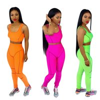 Wholesale summer outfits orange pants for sale - Group buy Knit Two Piece Pants Set Women Summer Active Tracksuit Outfits Solid Sleeveless Vest Crop Top Slim Long Pant Sets Orange Green Rose Red