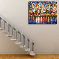 Wholesale palette knife paintings resale online - Chicago Palette Knife Oil Painting Canvas Posters Prints Wall Art Painting Decorative Picture Modern Home Decoration Framework