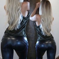 Wholesale women legging faux leather for sale - Group buy Women Faux Leather Trousers Sexy Skinny Legging Sports Yoga Pant High Waist Stretch Pencil Trousers LLA45