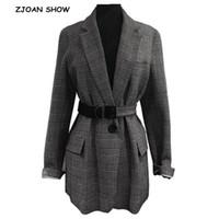 Wholesale blazers korea resale online - 2019 New Autumn Winter Chic Gingham Plaid Blazer With Belt Vintage Korea Women Long sleeve Mid Long Suit OL Coat outwear