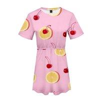 pijamas laranja mulheres venda por atacado-3d frutas impressão mulheres pijamas dress summer orange morango 10 estilo dress macio e confortável solto menina kpop sobre o tamanho 4xl