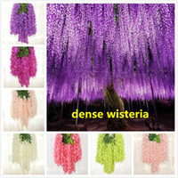 Wholesale vines resale online - 110cm dense wisteria flower artificial silk flower vine elegant wisteria vine rattan for wedding garden home parties decoration