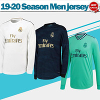 uniformes futebol venda por atacado-2020 Real Madrid manga comprida casa # 7 PERIGO # 9 Benzema Futebol 19/20 luva cheia de distância camisas de futebol 3º uniformes de futebol verde