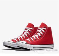 marcas de zapatos de hombre al por mayor-Envío de la gota A estrenar 15 colores Todos los tamaños 35-46 Alto estrellas deportivas Top Low Clásico Zapatillas de lona Zapatillas de deporte de los hombres de las mujeres Zapatos ocasionales