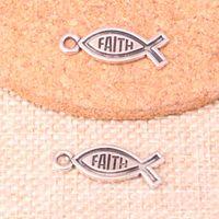 placas de fé venda por atacado-86 pcs de Prata Antigo Banhado a fé peixe Encantos Pingentes fit Fazendo Pulseira Colar Descobertas Jóias Jóias Artesanato Diy 25 * 9mm