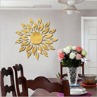 Wholesale sunflower stickers for wall for sale - Group buy Sun Sunshine Fire Sunflower Wall Sticker D Mirror Effect Art Mural DIY Removable Decal Stickers Home Decorations