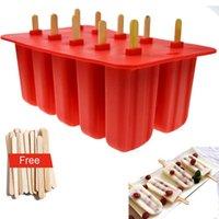 подносы оптовых-Новый дизайн Georgia Silica Gel Ice Cream Mold Popsicle Mold Ice Tray Puck Popsicle Mold Ice Cream 10 С Силикон Mold Высокое качество