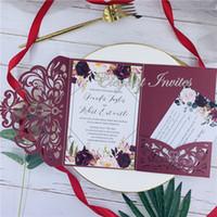 decoração de casamento de borgonha venda por atacado-Elegante Borgonha Corte A Laser Ser Cut Wedding Convida Cartões de Saudação Cartão Personalizar Negócio Com RSVP Cartões de Decoração Fontes Do Partido