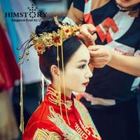 coronas de strass chino al por mayor-HIMSTORY lujo nuevo chino Novias del cabello joyas accesorios LongTassel Rhinestone rojo vendas del pelo de la reina tiaras Corona