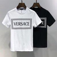 черная белая пара футболка оптовых-Мужская Женская Дизайнерская Футболка Черный и Белый Сплошной Цвет Лето Марка Топ Ти Роскошная Одежда Высокого Качества для Пар