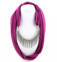 Wholesale rivets accessories resale online - Metal Rivet Scarf necklace Women fashion Tassel pendant necklace Scarf jewelry vintage Ethnic accessories
