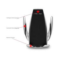 iphone luftentlüftung großhandel-2019 heißer s5 drahtlose auto ladegerät automatische klemmen für iphone android air vent handyhalter 360 grad-umdrehung 10 watt schnellladung mit box