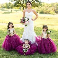 vestido de desfile sexy niños al por mayor-Bling rosa dorado con lentejuelas vestido barato tul púrpura princesa flor vestidos de las muchachas para las bodas joya piso sexy longitud niñas vestidos del desfile