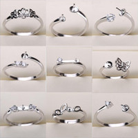 ingrosso mescolare le impostazioni dei monili-Impostazioni anello di perle 925 Anelli su nastro per donna 20 stili MIX anelli fai-da-te regolabili dimensioni gioielli impostazioni regalo di Natale gioielli dichiarazione