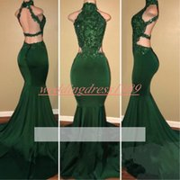 ingrosso il bello vestito da promenade del merletto verde-Bella verde collo alto sirena africana prom dresses backless applique pizzo arabia plus size partito abiti formali vestido de fiesta sera