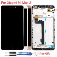 iphone cam mercek rengi toptan satış-Mi Max 2 Display For Xiaomi Mi Max 2 LCD Original Frame Touch Screen Assembly Replacement LCD Display 6.44 Inch