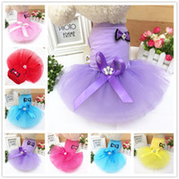 Wholesale petting dress resale online - Pet Dogs Clothes Bow Dress Soft Lace Colorful Luxury Exquisite Dog Apparel Wedding Clothing Spring And Summer Style High Quality hbE1