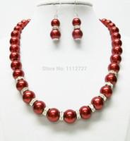 brincos de colar de coral vermelho venda por atacado-Mulheres Presente palavra Amor mulheres Moda Jóias Lovely10mm Red Sea Shell Pérola Colar Brinco Set 18